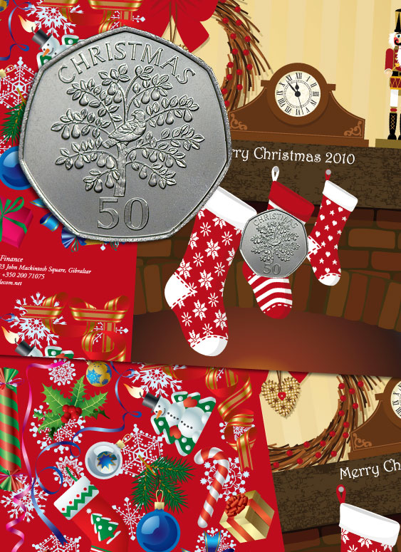 Merry Christmas 2010 Gibraltar 50p Coin Card