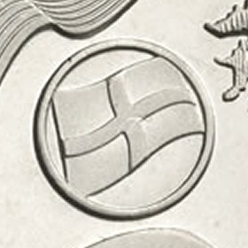 Close up of England flag on the Commonwealth Games £2 coin