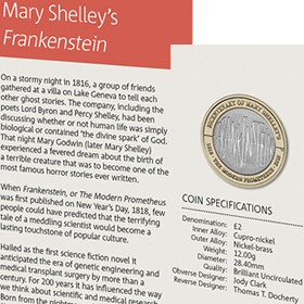 Mary Shelley's Frankenstein £2 Coin in the 2018 Annual Set