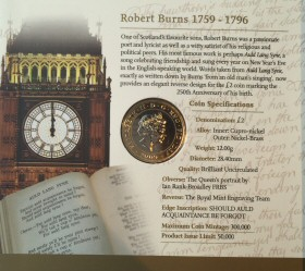 2009 Robert Burns £2 Coin Presentation Folder