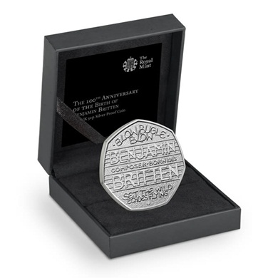 The 100th Anniversary of the Birth of Benjamin Britten 2013 UK 50p Silver Proof Coin