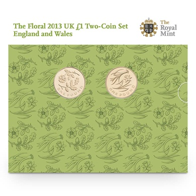 The Floral 2013 UK £1 Two-Coin Set England and Wales