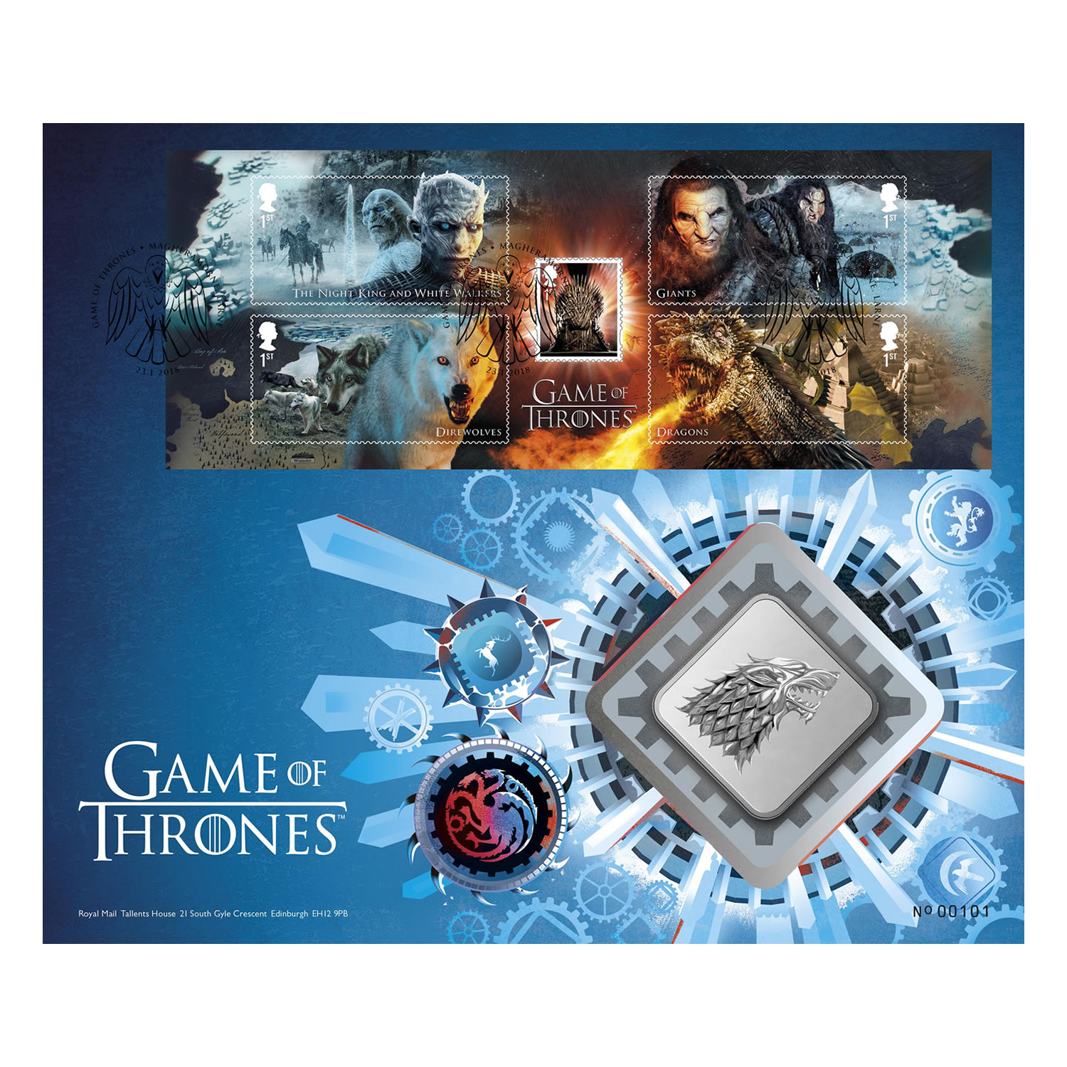 Game of Thrones House Stark Brilliant Uncirculated Medal Cover