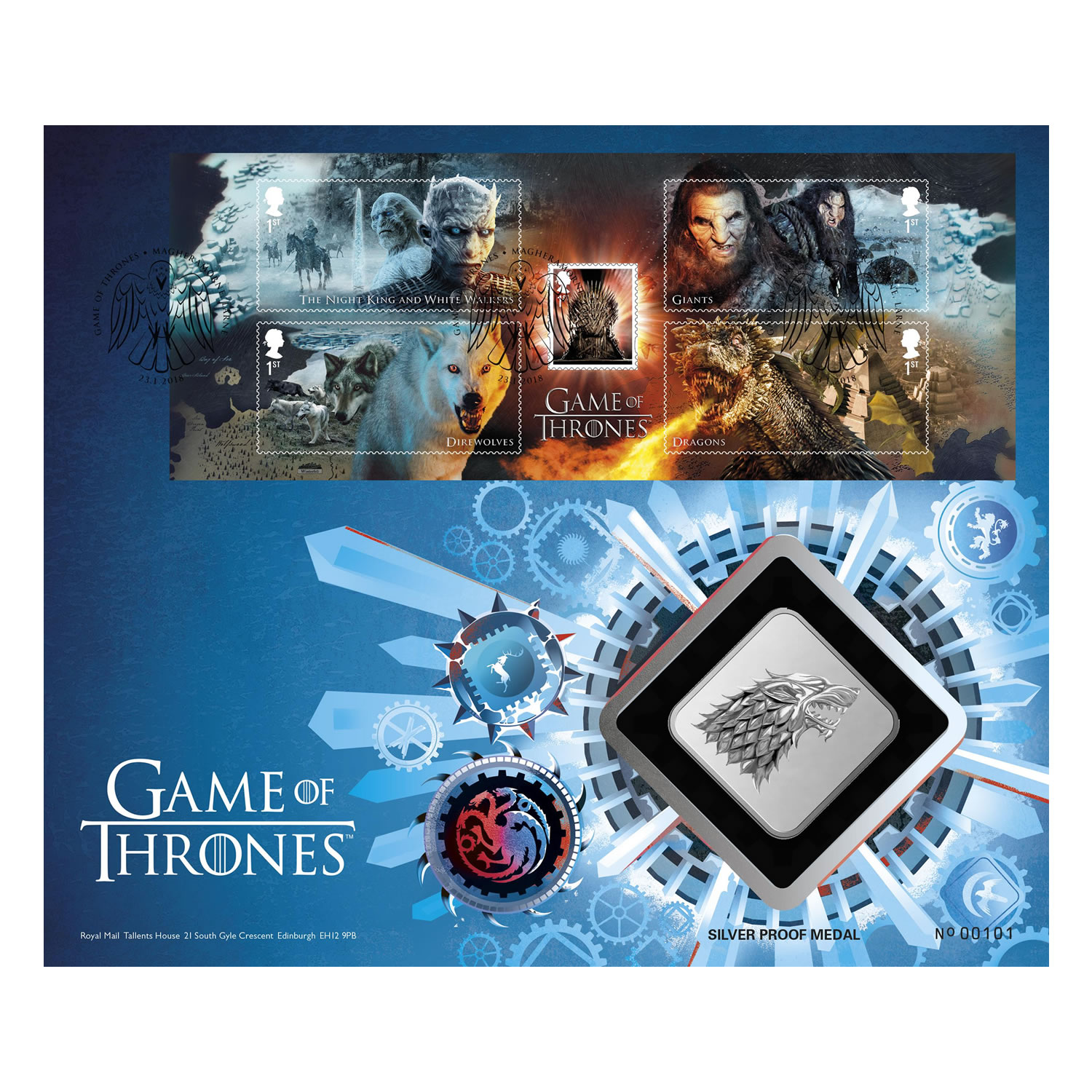 Game of Thrones House Stark Silver Proof Medal Cover