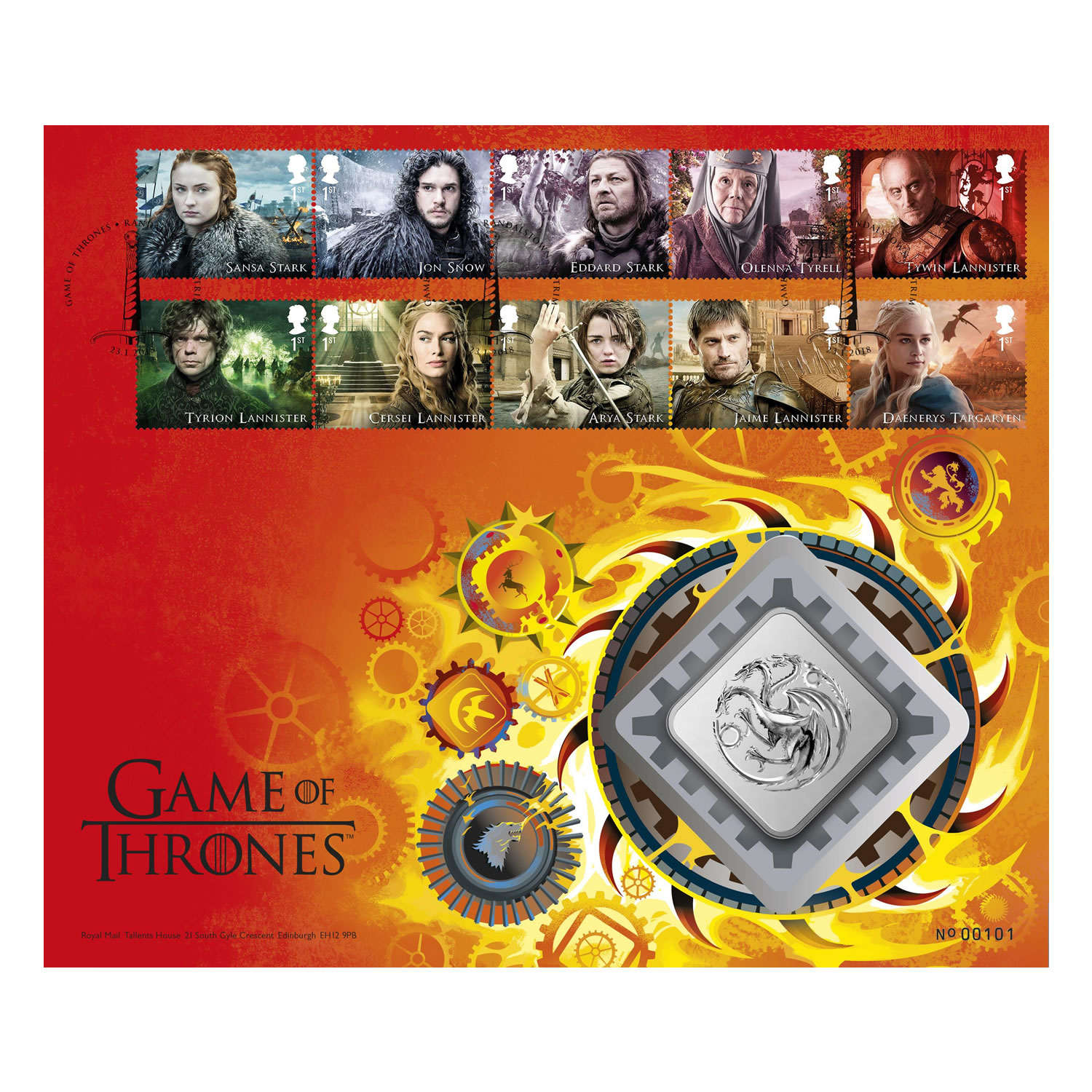 Game of Thrones House Targaryen Brilliant Uncirculated Medal Cover