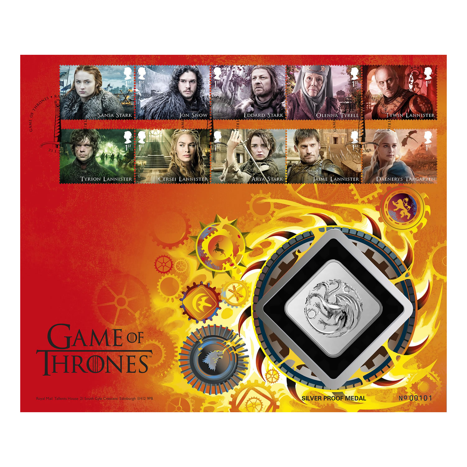 Game of Thrones House Targaryen Silver Proof Medal Cover