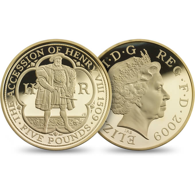 Accession of Henry VIII 500th Anniversary £5 Gold Proof Coin