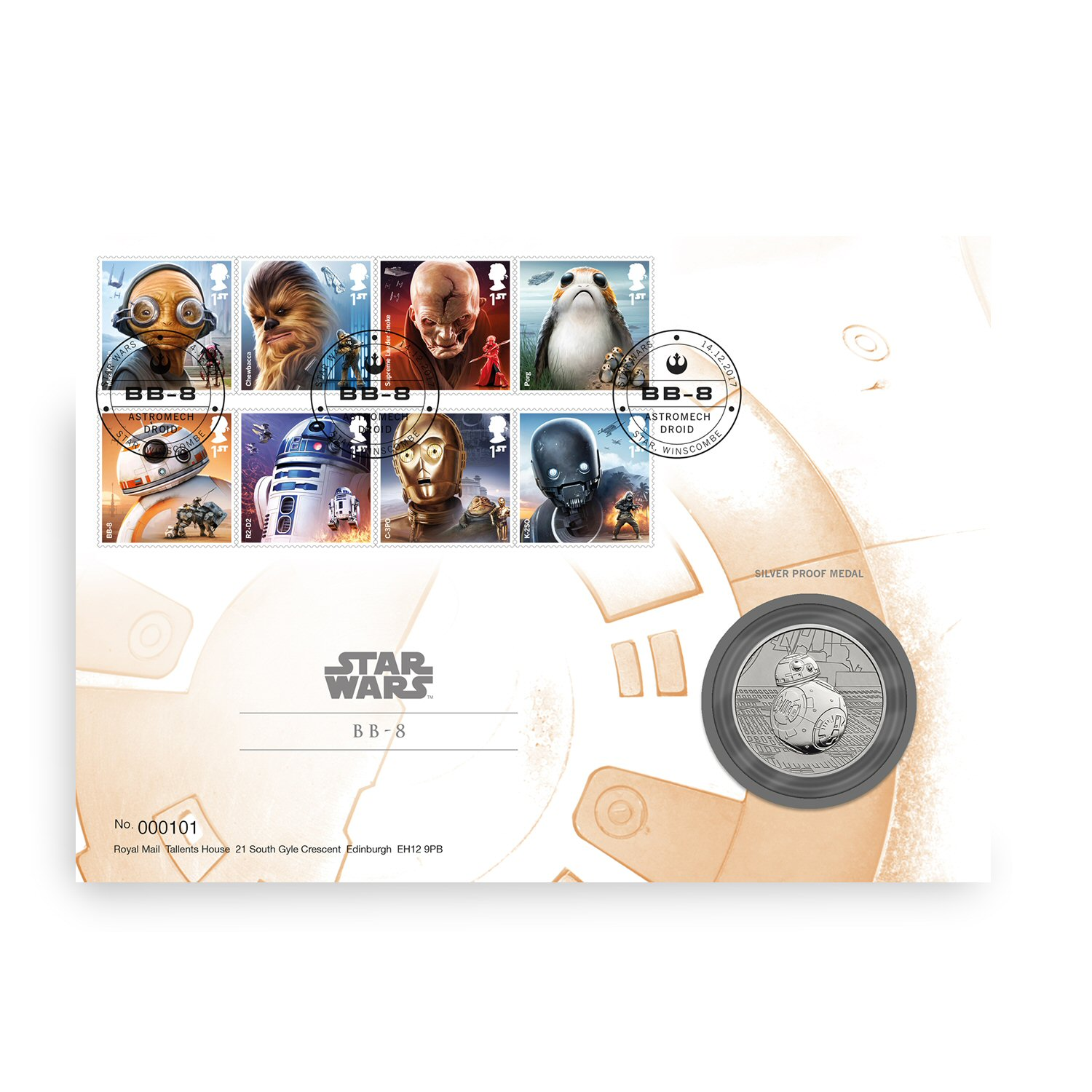 Star Wars BB8 Silver Proof Medal Cover