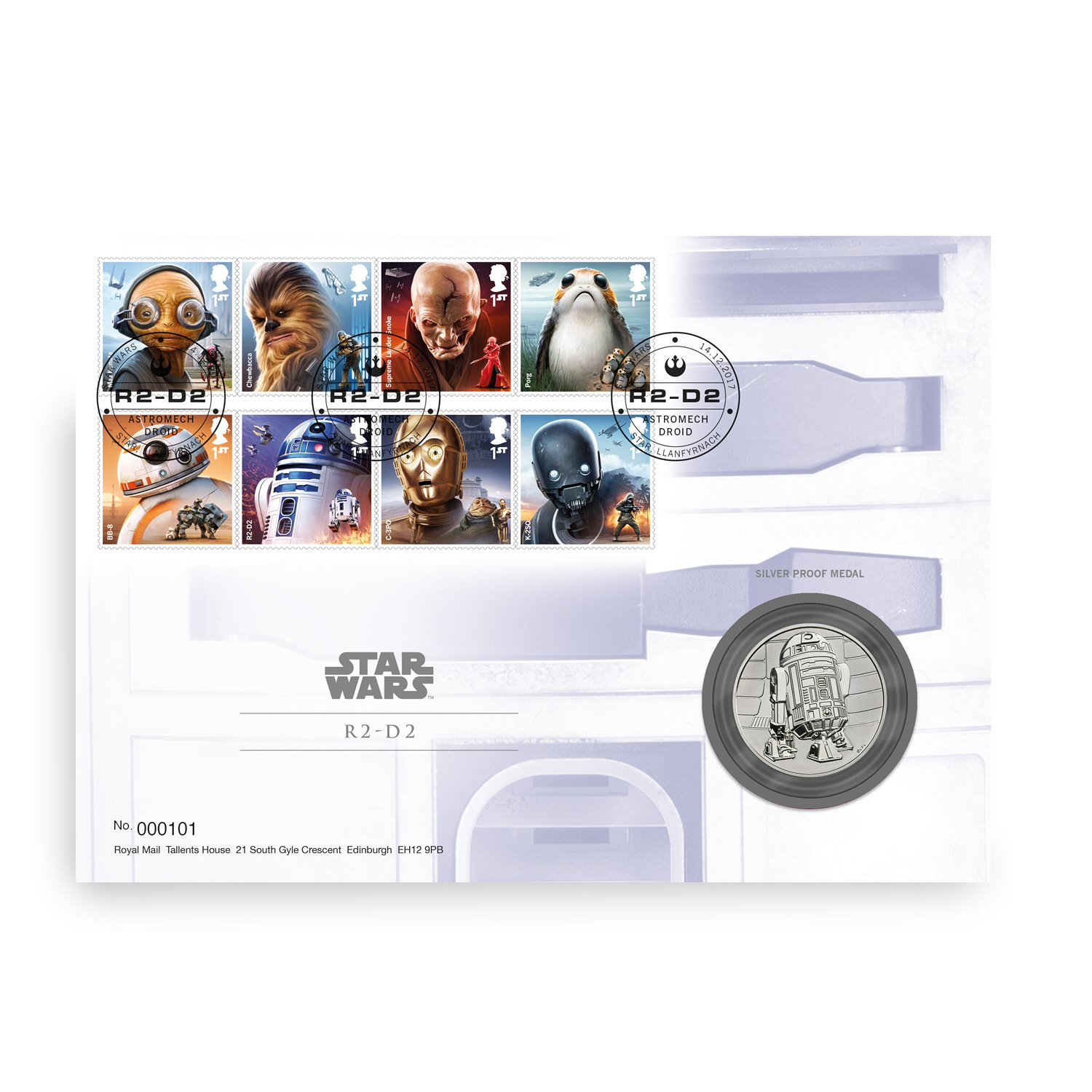 Star Wars R2D2 Silver Proof Medal Cover