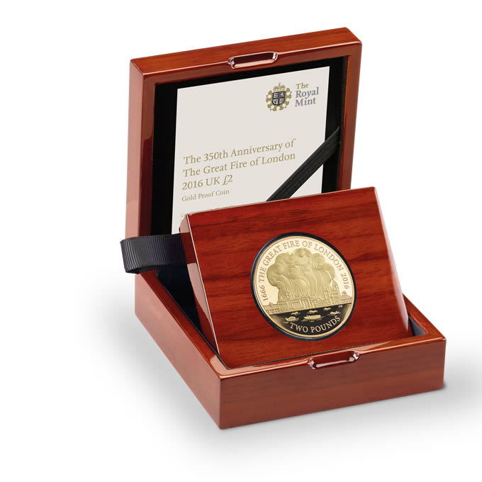 The Great Fire of London 2016 UK £2 Gold Proof Coin
