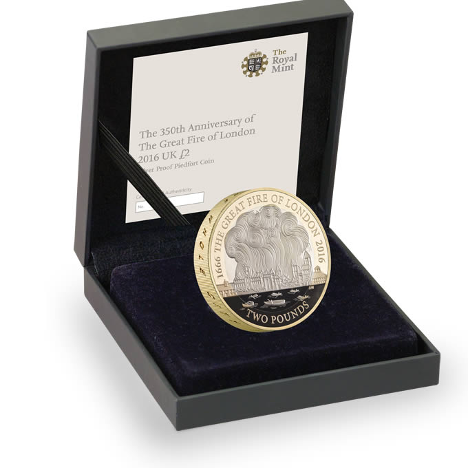 Great Fire of London 2016 UK £2 Silver Proof Piedfort Coin