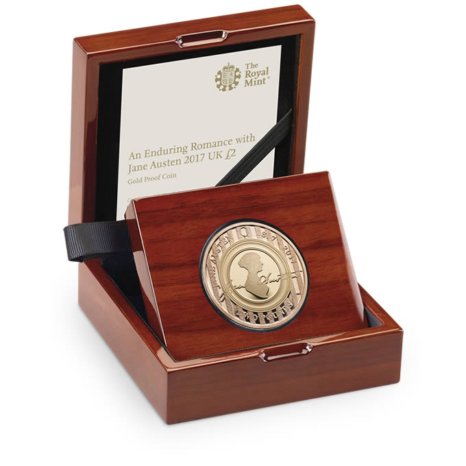 Jane Austen 2017 UK £2 Gold Proof Coin