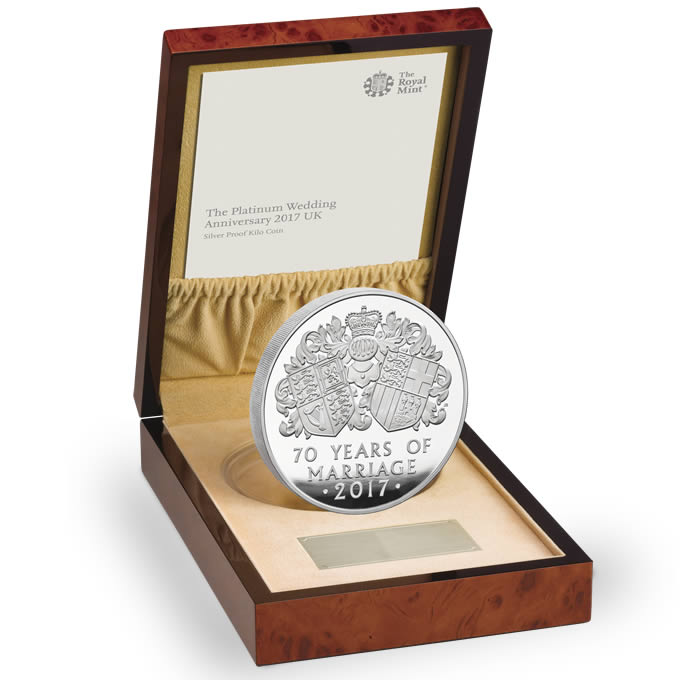 The Platinum Wedding Anniversary 2017 UK Silver Proof Kilo Coin
