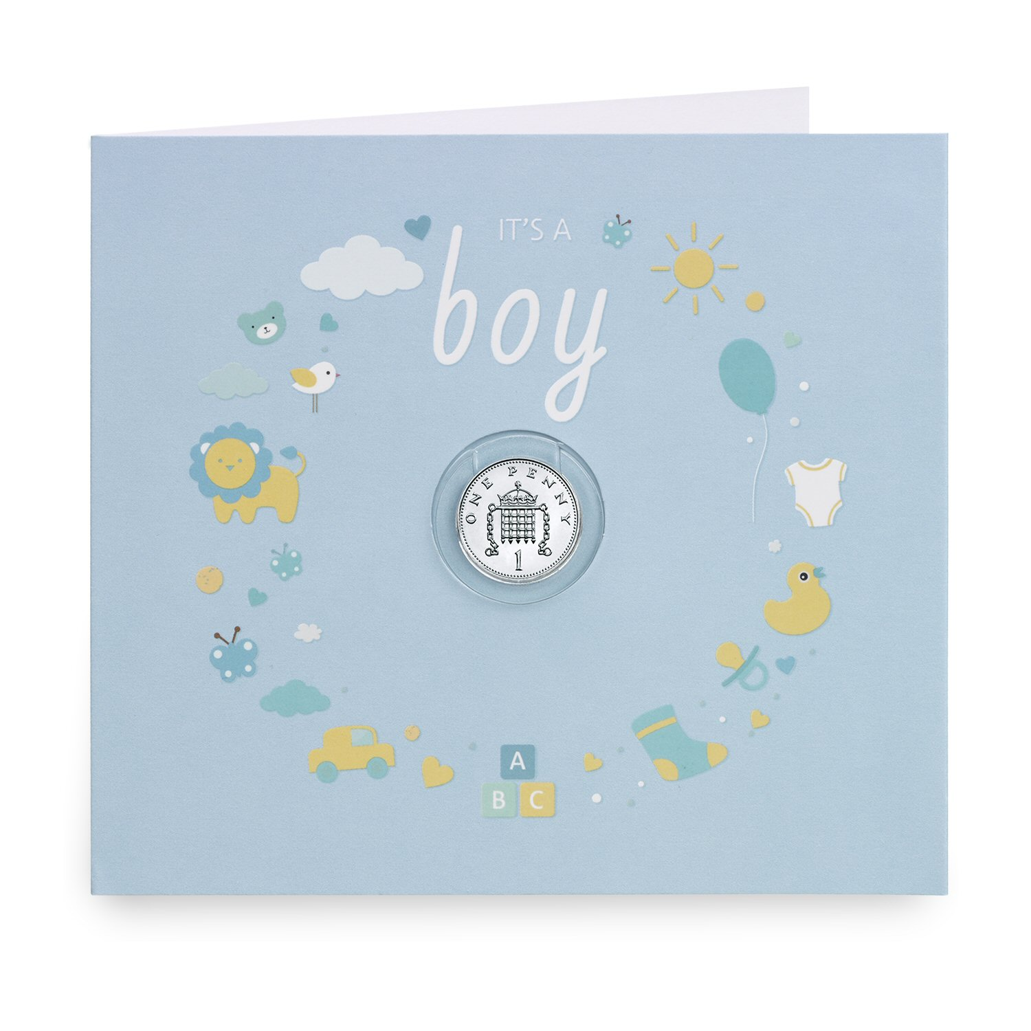 Baby Silver Penny It's A Boy Gift Card Presentation