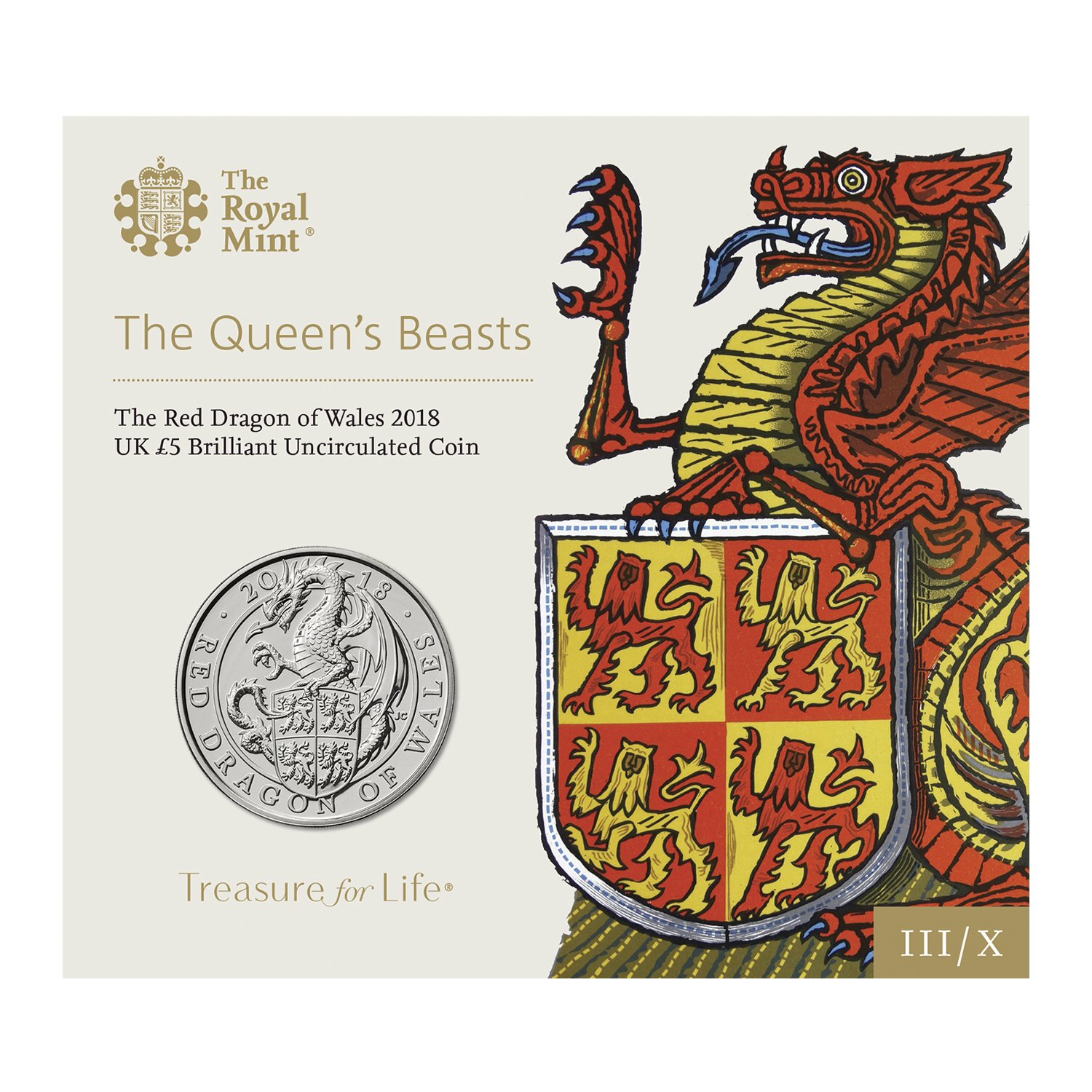 The Red Dragon of Wales 2018 UK £5 Brilliant Uncirculated