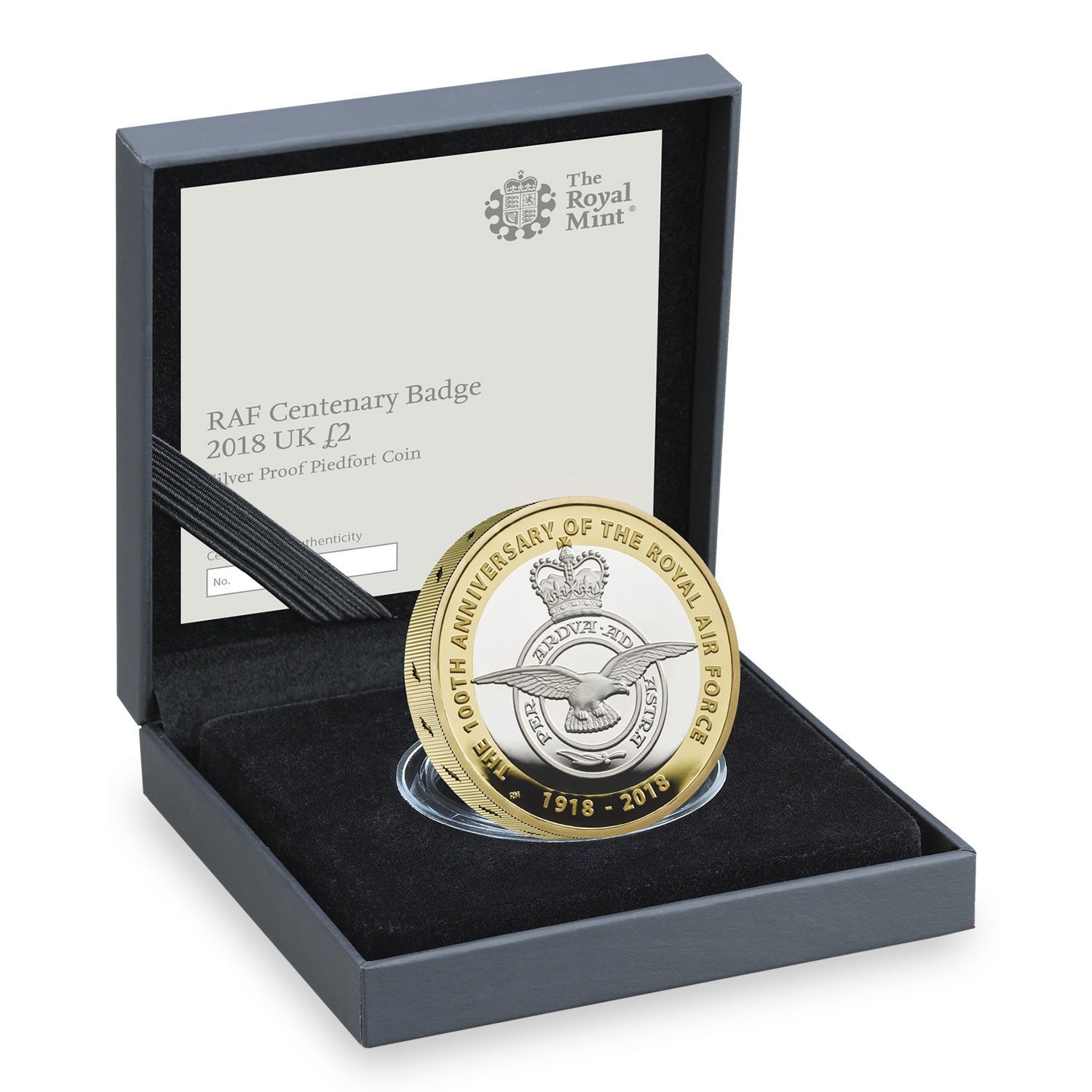 RAF Centenary Badge 2018 UK £2 Silver Proof Piedfort Coin