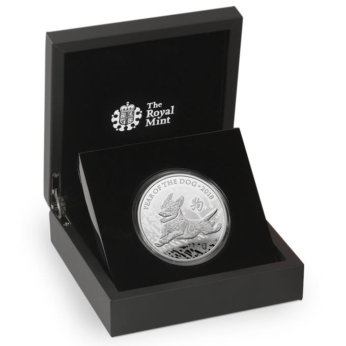 Lunar Year of the Dog 2018 UK Five Ounce Silver Proof Coin