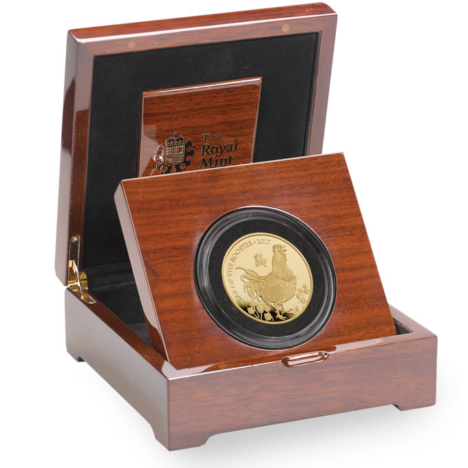 Lunar Year of the Rooster 2017 UK Five Ounce Gold Proof Coin