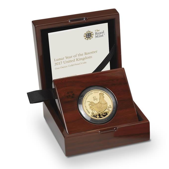 Lunar Year of the Rooster 2017 UK One Ounce Gold Proof Coin
