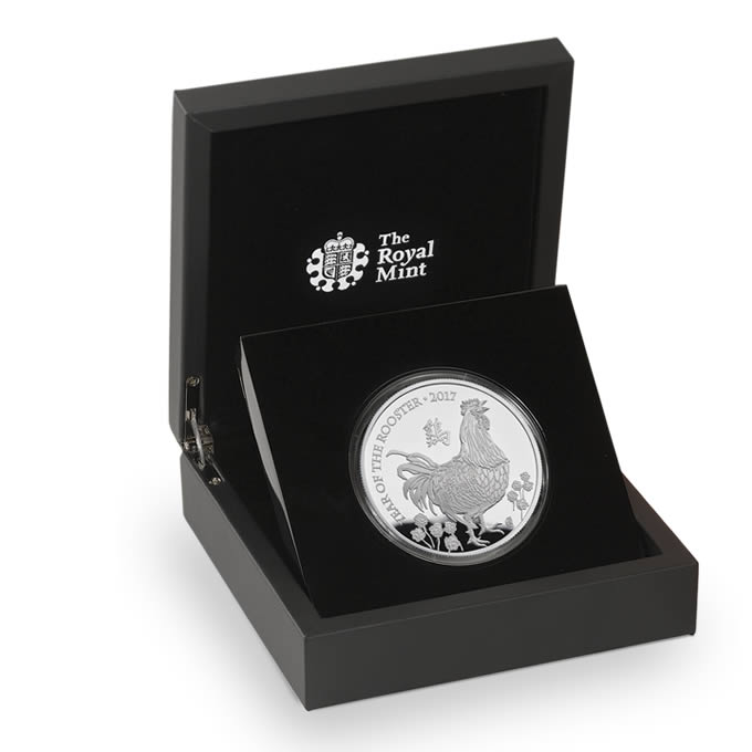 Lunar Year of the Rooster 2017 UK Five Ounce Silver Proof Coin