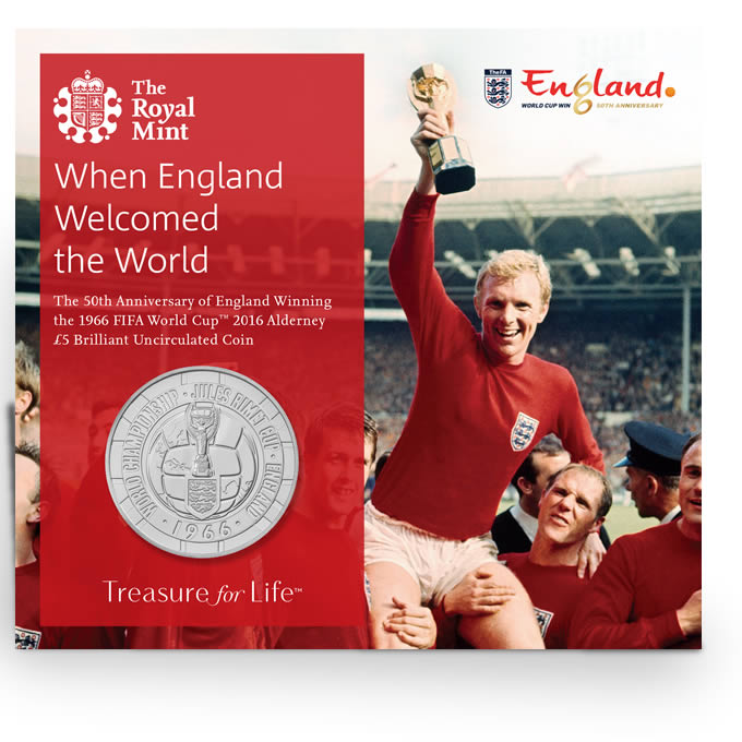 1966 FIFA World Cup 2016 Alderney £5 Brilliant Uncirculated Coin