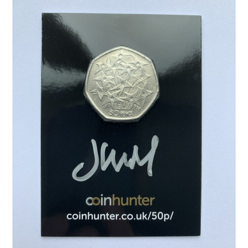1998 EEC Circulated 50p [Coin Hunter card] signed by designer John Mills