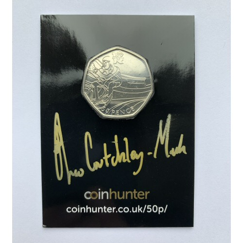 2011 Olympic Cycling Circulated 50p [Coin Hunter card] signed by designer Theo Crutchley-Mack