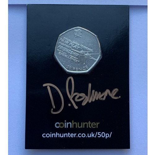 2011 Olympic Rowing Circulated 50p [Coin Hunter card] signed by designer Davey Podmore