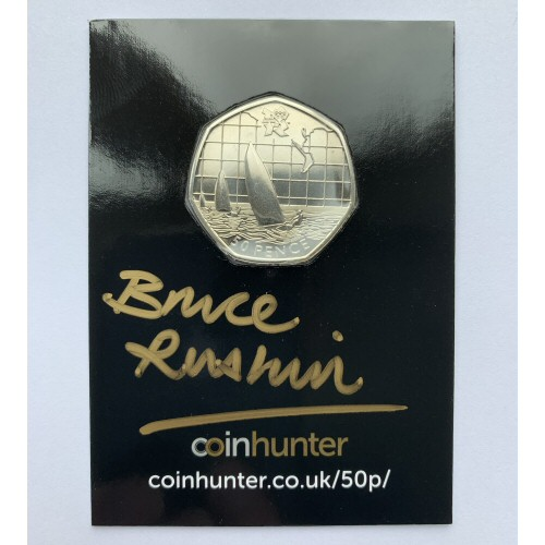 2011 Olympic Sailing Circulated 50p [Coin Hunter card] signed by designer Bruce Rushin