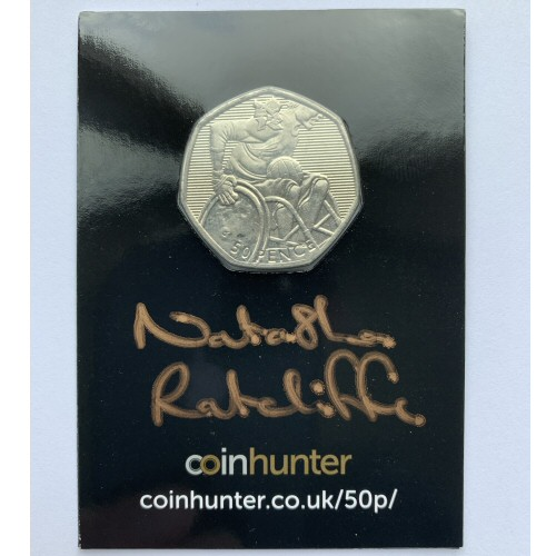 2011 Olympic Wheelchair Rugby Circulated 50p [Coin Hunter card] signed by designer Natasha Ratcliffe