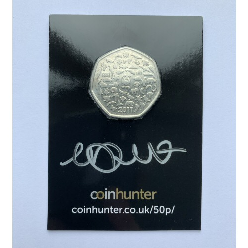2011 WWF Circulated 50p [Coin Hunter card] signed by designer Matthew Dent