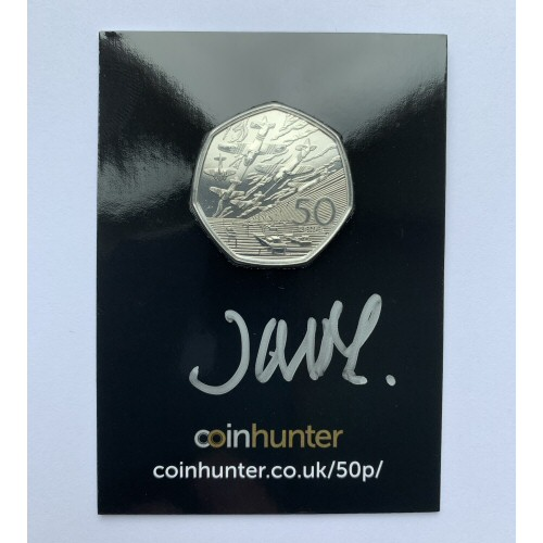2019 D-Day Brilliant Uncirculated 50p [Coin Hunter card] signed by designer John Mills
