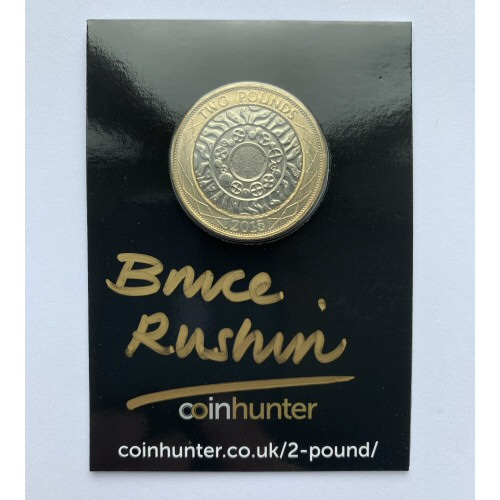 2015 Technology Circulated £2 Coin [Coin Hunter card] signed by designer Bruce Rushin