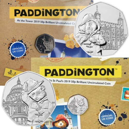 2019 Paddington 50p Set - 2 Royal Mint Packs: Tower of London and St. Pauls Cathedral