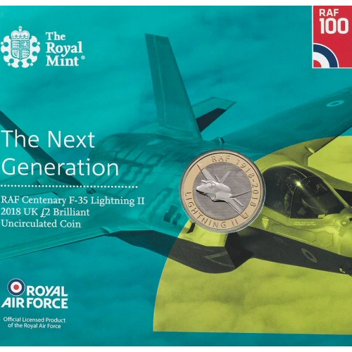 2018 RAF Centenary F-35 Lightning II  Brilliant Uncirculated £2 [Royal Mint pack]