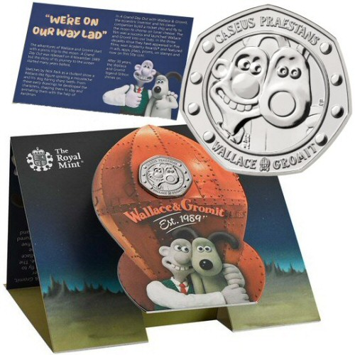 2019 Wallace and Gromit Brilliant Uncirculated 50p [Royal Mint pack]
